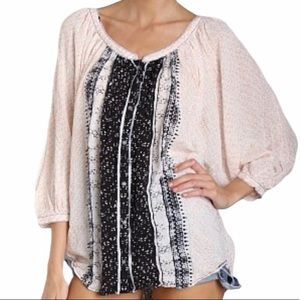 FREE PEOPLE Flowy Button Up Boho Style Blouse